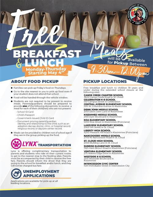 Free Breakfast and Lunch Pick up from 9:30-12:00