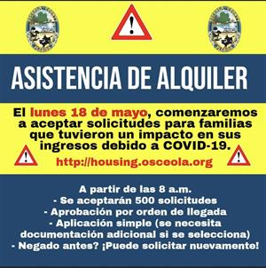 Rental Assistance Flyer in Spanish for those affected by Covid 19