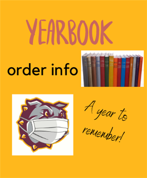 A bulldog with a Mask and Yearbooks