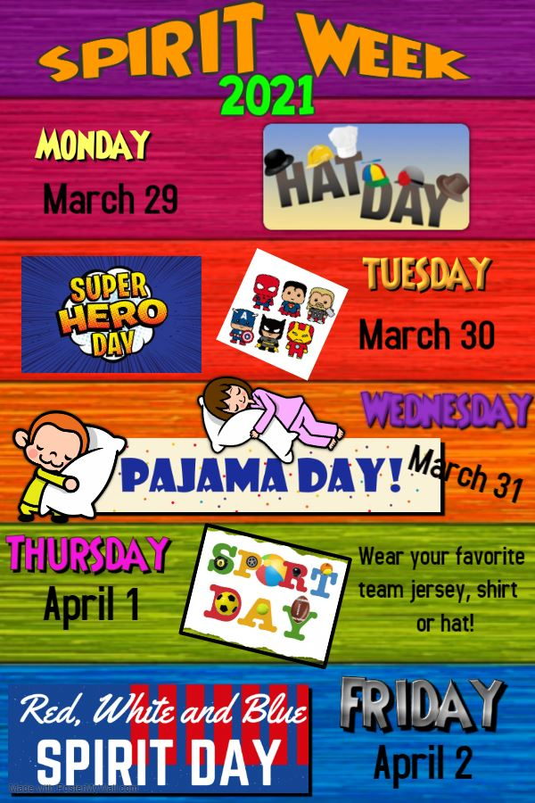 Spirit Week is coming! Join us March 29th through April 2nd for a week of themed outfits!