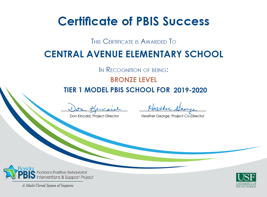 Certificate of PBIS Success for Central Avenue Elementary School - Bronze Award