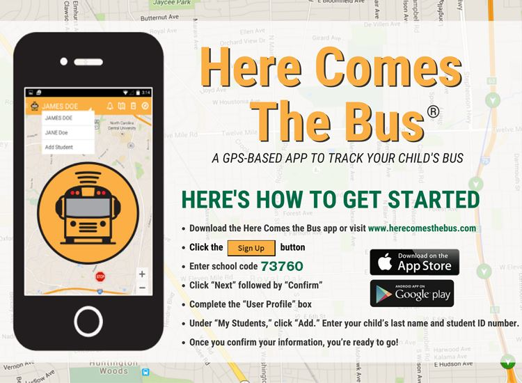 Download the Here Comes The Bus App from the app store today!
