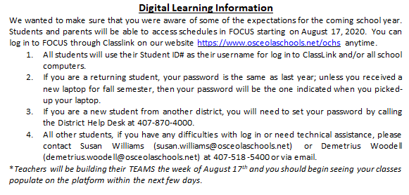 Digital Learning Instructions