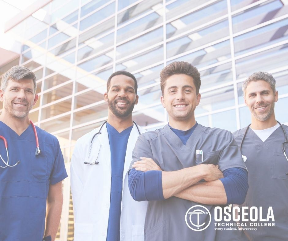 group of men in scrubs as nurses