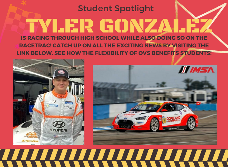 Picture of Student Tyler Gonzalez, Tyler is racing through high school while also doing so on the racetrac.