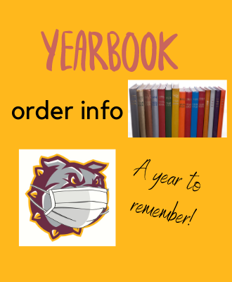 Image of a Bulldog with a Mask on and Yearbooks