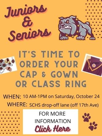 Bulldog on flyer with dates for cap and gown or class ring orders